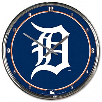 Detroit Tigers Clock - Chrome 12''