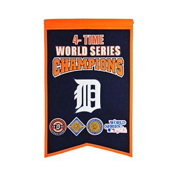 Detroit Tigers Banner - Tigers 4 Time World Series 24'' x 15'''
