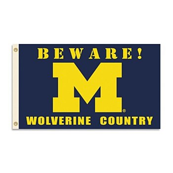 University of Michigan Flag - Beware! Wolverines Country with Grommets 3' x 5'