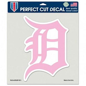 "Detroit Tigers Decal Perfect Cut Pink Color BCA 8"" x 8"""