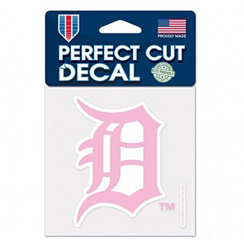 "Detroit Tigers Decal Perfect Cut Pink Color BCA 4"" x 4"""