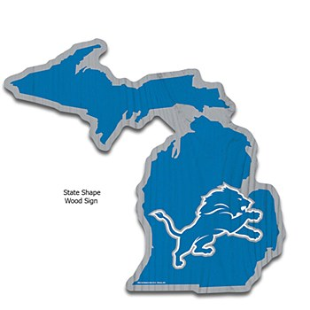 Detroit Lions Sign - Wood State Shaped