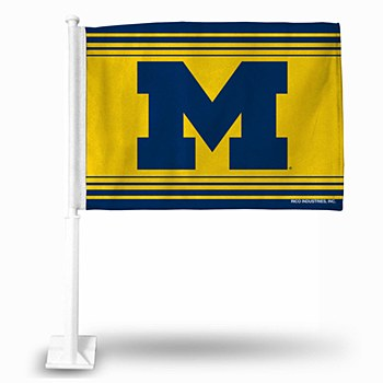 "University of Michigan Car Flag Power ""M"" Yellow/Blue"