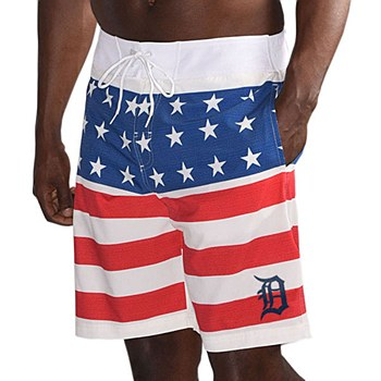 Men's Detroit Tigers G-III Sports by Carl Banks Red/Navy Armed Forces Patriotic Swim Trunks