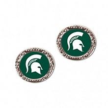 Michigan State University Earirings Round Spartan