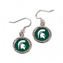 Michigan State University Earrings Round Spartan