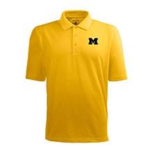 University of Michigan Mens Xtra-Lite Yellow Short Sleeve Polo X-Large