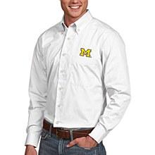 University of Michigan Dress Shirt Mens Dynasty White Long Sleeve Small