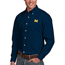University of Michigan Dress Shirt Mens Dynasty Navy Blue Long Sleeve Medium