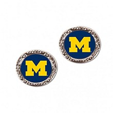 University of Michigan Earrings Round