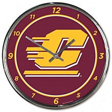 Central Michigan University Clock - Chrome 12''