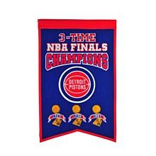 Detroit Pistons Banner - 3-Time Champions 22'' x 14''