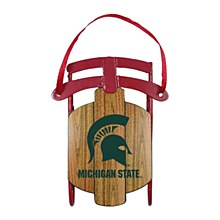 Michigan State University Ornament - Metal Sled Ornament 3.5''