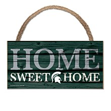 "Michigan State University Sign - HOME SWEET HOME Wood Sign w/Rope 5"" x 10"""