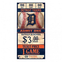 "Detroit Tigers Sign - Wood Ticket Sign 6''x12'', 3/8"" thick"