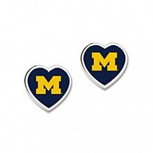 University of Michigan Earrings Post 3D Heart