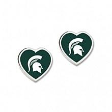 Michigan State University Heart Shaped Pennant earrings