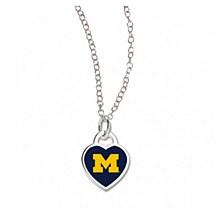 University of Michigan Necklace Heart Shape