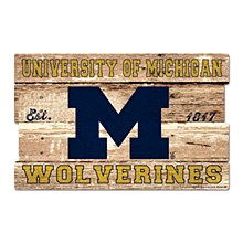 Michigan State University Sign - Wolverines Wood Sign 19''x30''
