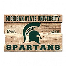 "Michigan State University Sign - Wood Spartans 19""x30"" 3/8"" Thick"