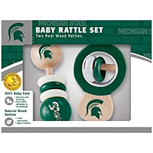Michigan State University Baby Real Wood Baby Rattle Set
