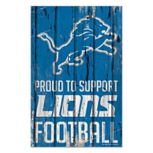 Detroit Lions Sign - Wood Proud To Support Lions Football 11''X17''