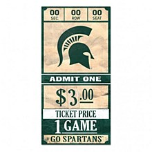Michigan State University Sign - Wood Ticket Sign 6x12 3/8""