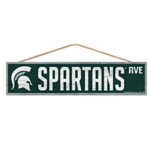 "Michigan State University Sign Wood-with Rope 4"" x 17"""