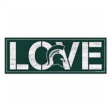 "Michigan State University Sign - Wood Love 8""x23"" 1/4"" thick"