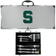 Michigan State University BBQ 8 pc Stainless Steel Set w/Metal Case