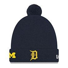 Detroit Tigers Hat - Navy Michigan Wolverines Co-Branded Pom Cuff Knit Cap