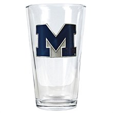 University of Michigan Pint Glass 16oz with Metal Emblem