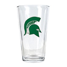 Michigan State University Glass 16oz Pint Glass w/ Metal Emblem