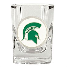 Michigan State University Glass Spartans 2oz Square Shot Glass