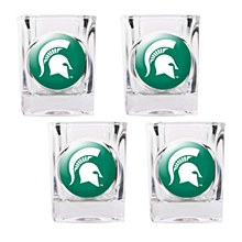 Michigan State University Glass - Spartans 2oz Square Shot with Crystal Coat Emblem 4pc