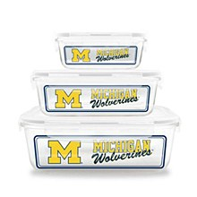 University of Michihan Glass Food Container 6 Pice