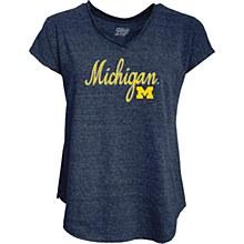 University of Michigan Ladies Tri-Blend V Neck Nave=y Blue