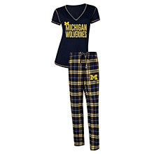 University of Michigan Wolverines NCAA Super Duo Women's T-Shirt & Flannel Pajama Sleep Set