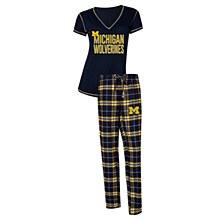 University of Michigan Wolverines NCAA Super Duo Women's T-Shirt & Flannel Pajama Sleep Set