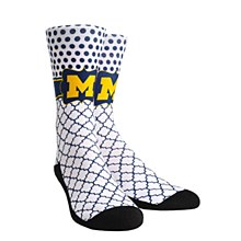 University of Michigan Socks - Quatrefoil Dots
