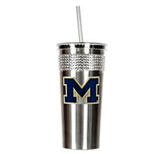 University of Michigan Tumbler 14oz Stainless Bling Tumbler with straw w/ Metal Emblem