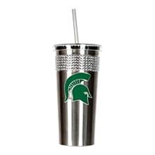 Michigan State University Tumbler 14oz Stainless Bling Tumbler with straw w/ Metal Emblem