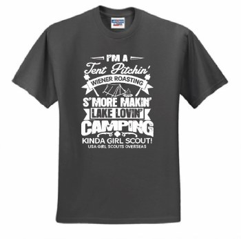 Tent Pitchin' Girl Scout T-Shirt - Youth Large