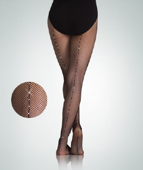 Body Wrappers Seamed Rhinestone Fishnet A64 S/M BLK