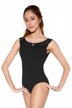 So Danca Lace Detail Tank Leotard D1677ME XS BLK