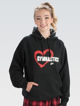 GK Elite GK L1152A SM BLK Red Heart Hooded Sweatshirt