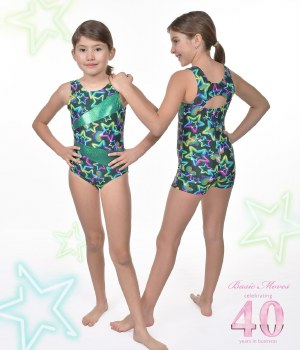 Basic Moves Tank Star Pattern Leotard GY5709GS 2-4 GREEN