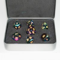 Blackfire Metal Dice Set Scorched Rainbow (7 Dice)