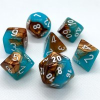Chessex Polyhedral 7-Die Set Copper-Turquoise/White