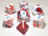 Chessex Polyhedral 7-Die Set Red-White/Blue